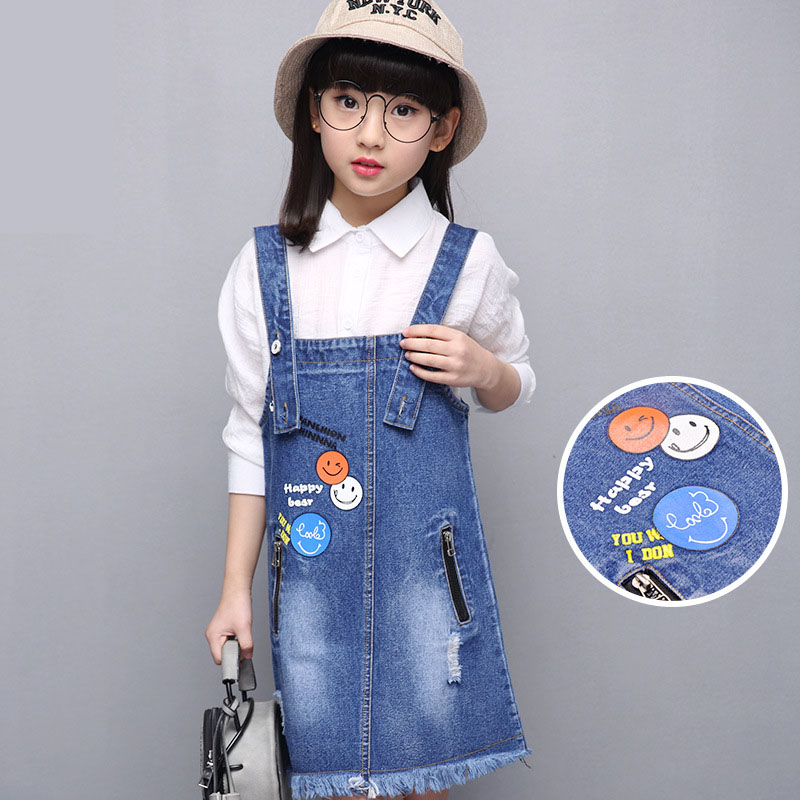ФОТО jeans pockets sleeveless kids dresses for girls children clothing character teenage baby girls denim sundress 2017 new spring