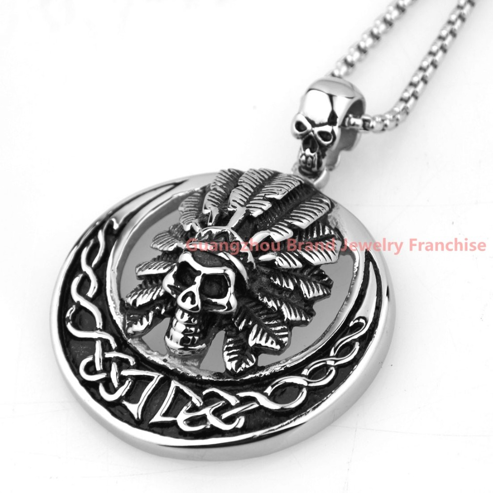 Amazing Design 316L Stainless Steel Silver Huge Heavy Skull Boys Vantige Pendant Neklace Mens Jewelry 50*50mm+ Free Chain