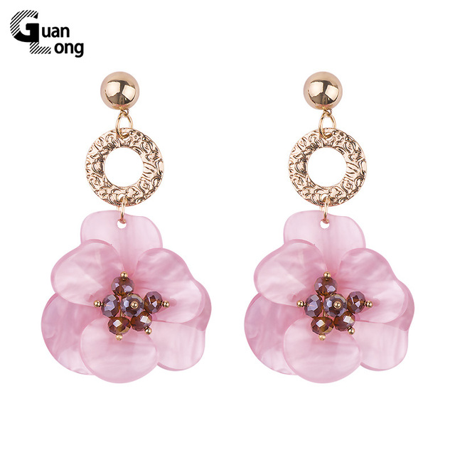 GuanLong Fashion Resin Acrylic Flower Earrings For Women Big Dangle Earrings Jew