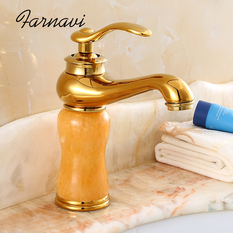 цена на Bathroom Basin Sink Jade Faucet Brass Basin Marble Stone Taps Rose Gold Single Handle Lavatory Mixer Tap