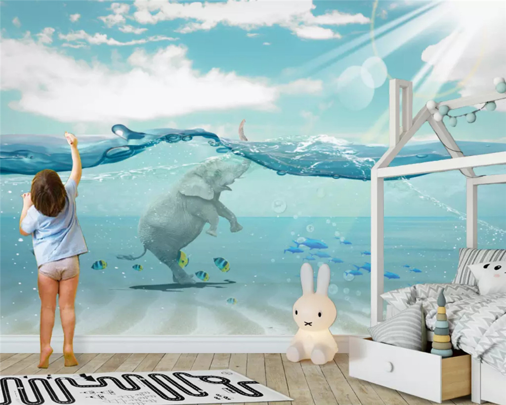beibehang Customized modern environmental 3d wallpaper Nordic abstract river elephant children background wall papers home decor