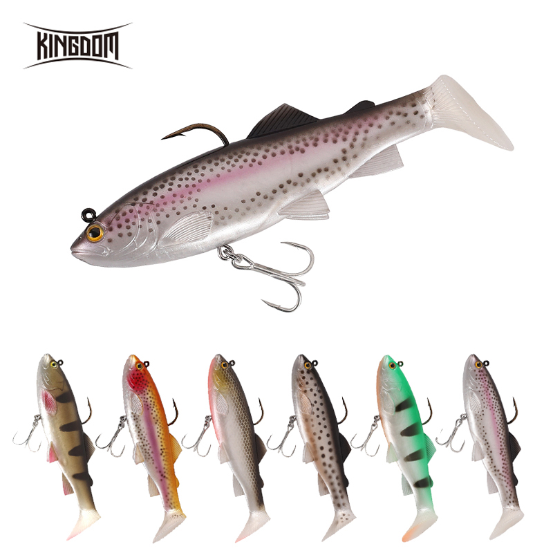 Kingdom Pike Fishing Lures 120mm 38g Wobblers Pig Shad Soft T Tail Lead Head Sinking Fishing Bait Crazy Trout Swimbait Lure