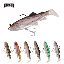 Kingdom Pike Fishing Lures 120mm 38g Wobblers Pig Shad Soft T Tail Lead Head Sinking Bait Crazy Trout Swimbait Lure