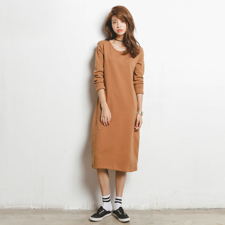 Women t shirt dress new cotton women casual dress long Women s long sleeve shirt dress
