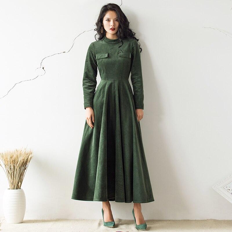 VERRAGEE 2019 automne hiver new vintage femmes mandarin col vert brun robe à manches longues Taille Haute rétro robe maxi élégante - 4