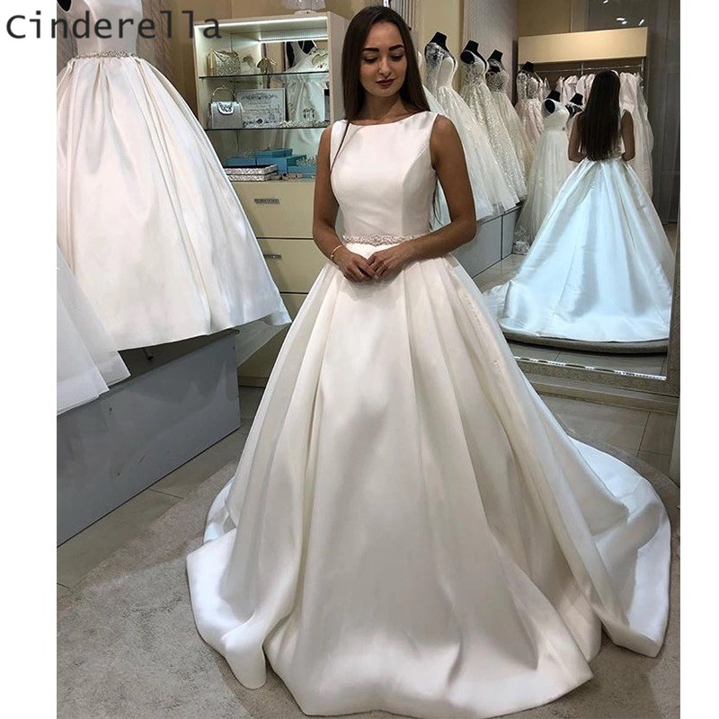 Cinderella Hot Scoop Sleeveless A-Line Covered Button Back Lace Applique Satin Wedding Dresses Crystal Sash Ivory Bridal Dresses