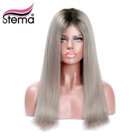 Stema 1b/Grey Ombre 4x4 Lace Front Human Hair Wig Black Root Natural Hairline Brazilian Straight Human Remy Hair 200% density