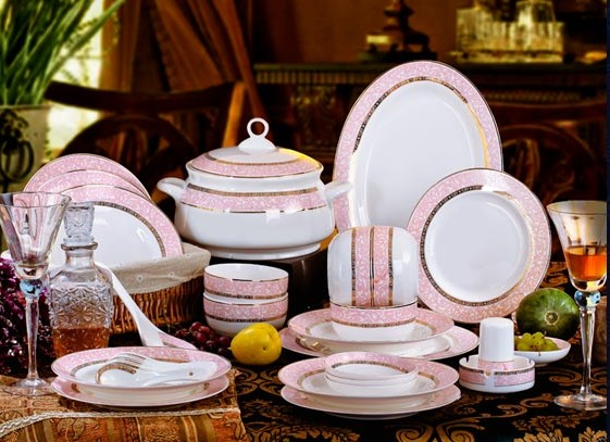 Dinnerware Set 46pcs Pink Memery Ceram Tableware Set Ceramic Plates Bowls Dishes Plates Soupe BowlsBine China & Dinnerware Set 46pcs Pink Memery Ceram Tableware Set Ceramic Plates ...