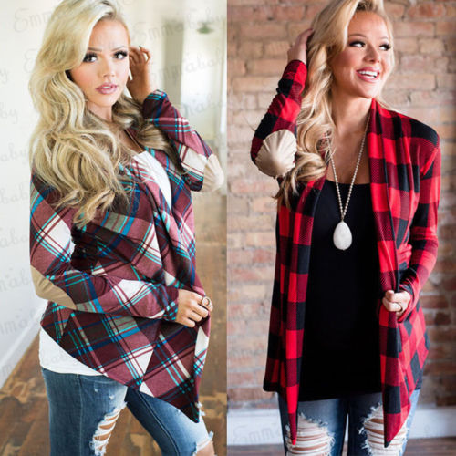 Womens Long Sleeve Flannel Plaid Shirts Cardigan Blouse Casual Jacket Loose Tops