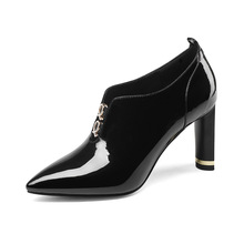 High-end brand-name fashion pointed metal rhinestone decoration women's high-heeled shoes deep mouth leather single shoes women brand name first layer cowhide deep mouth women s shoes thick with leather women shoes british rhinestone high heels women