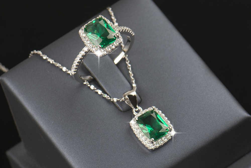 R & J 2016 جديد ماركة 925 فضة مجموعات مجوهرات الطبيعية كريستال خاتم الخطوبة قلادة موضة الزفاف قلادة للنساء