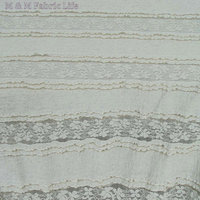 Tripe Beige Soft Embroidered Lace Fabric Spandex Cotton Fabric Textured Fabric Dress Fabric Home Decoration