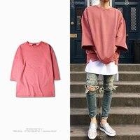 Justin Bieber Solid Cotton Shirt Hip Hop T Shirt Oversized Loose T Shirts Streetwear Three Quarter