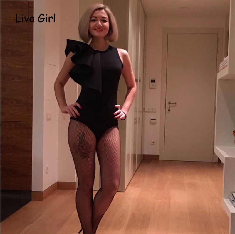 Модный топ с рюшами, женский сексуальный тонкий боди Черный Белый комплект с шортами на молнии сзади, женский комбинезон без рукавов