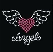 2pc lot heart angel wings rhinestone iron on transfers designs hot fix iron  on patches 85a5d8f5dbd5