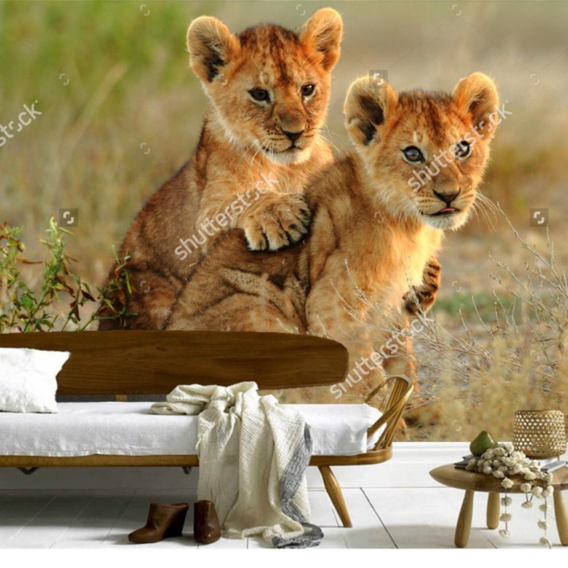 Children's wallpaper,lion cubs cuddling,3D photo mural for living room bedroom restaurant background wall waterproof wallpaper free shipping basketball function restaurant background wall waterproof high quality stereo bedroom living room mural wallpaper