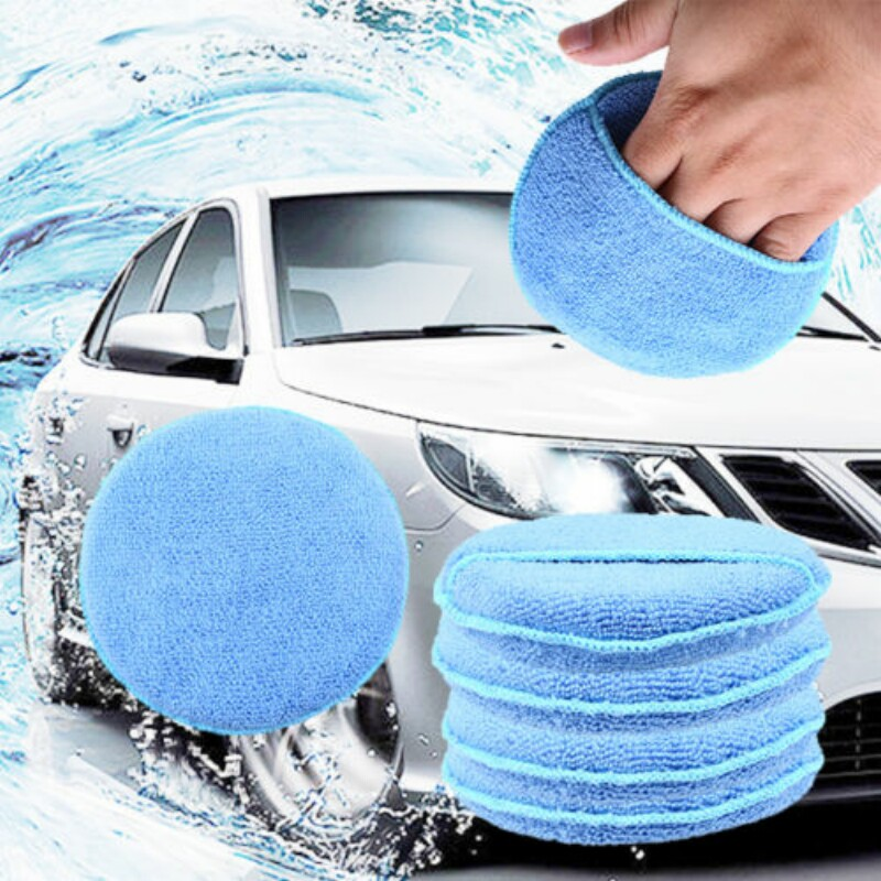 POSSBAY 1/5 Pcs Round Blue Microfiber Car Wax Applicator Pads Polishing Sponges With/Without Pocket For Car Home Cleaning Tools
