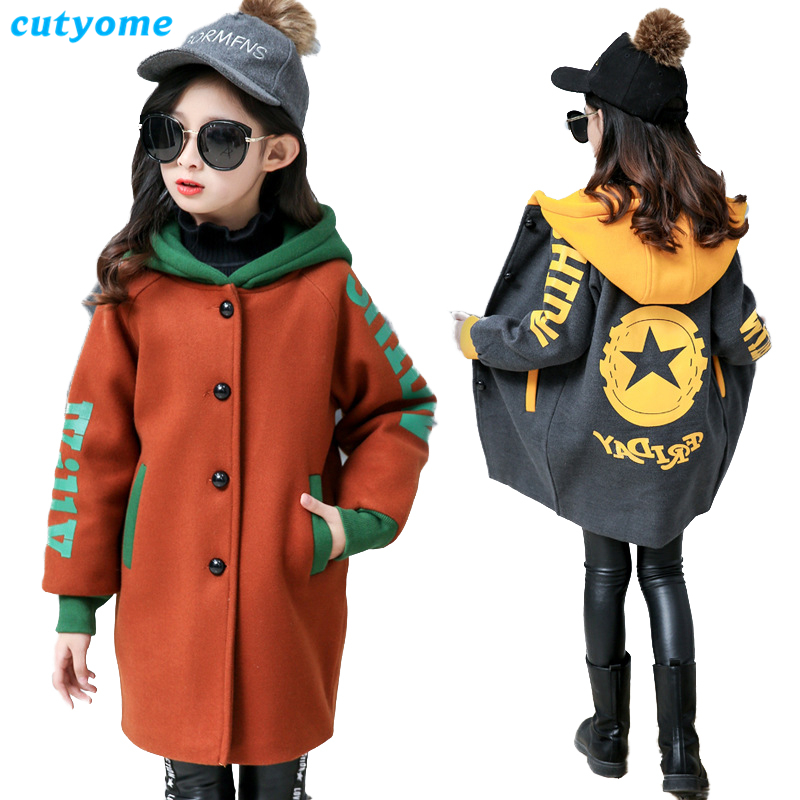 Children Overcoat 2018 Winter Fashion Kids Girls Hooded Wool Coats Teenages Jackets Warm Windbreaker Long Outerwear Coat 8 9 13 2018 new fashion suede lamb wool women coats double breasted warm solid thick long overcoat casual winter cotton jackets female