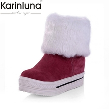 Mid-calf Snow Boots Ankle Boots Big Size 34-43 New Women Fashion Round Toe Platform Winter Girl's Shoes Slip On