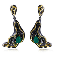 New Branch Design Green Stone Drop Earring High Quality Cubic Zirconia Black Gold Plated Fantastic Earrings