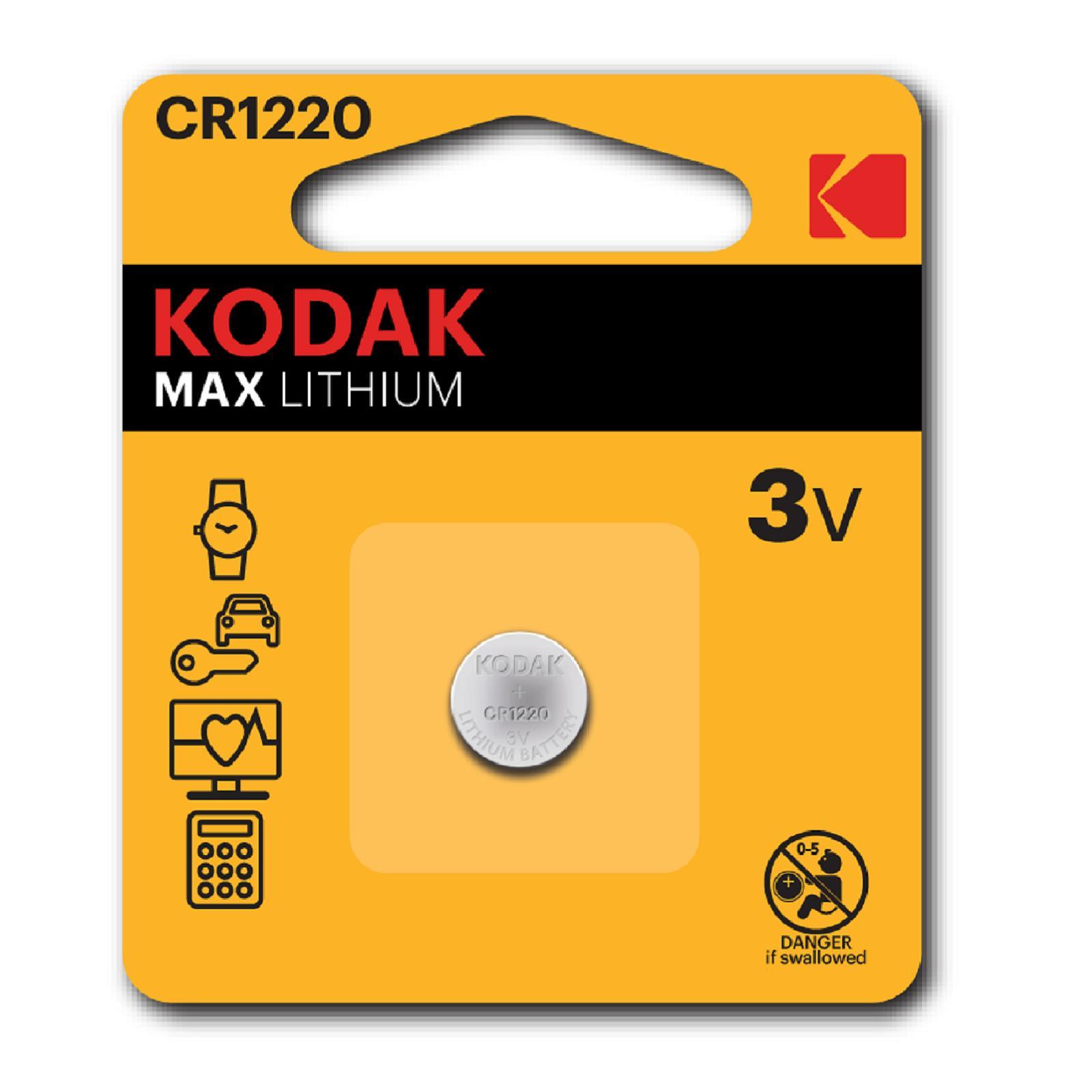 Pila De Boton Kodak Bateria Original Litio CR1220 3V En Blister 1X Unidad