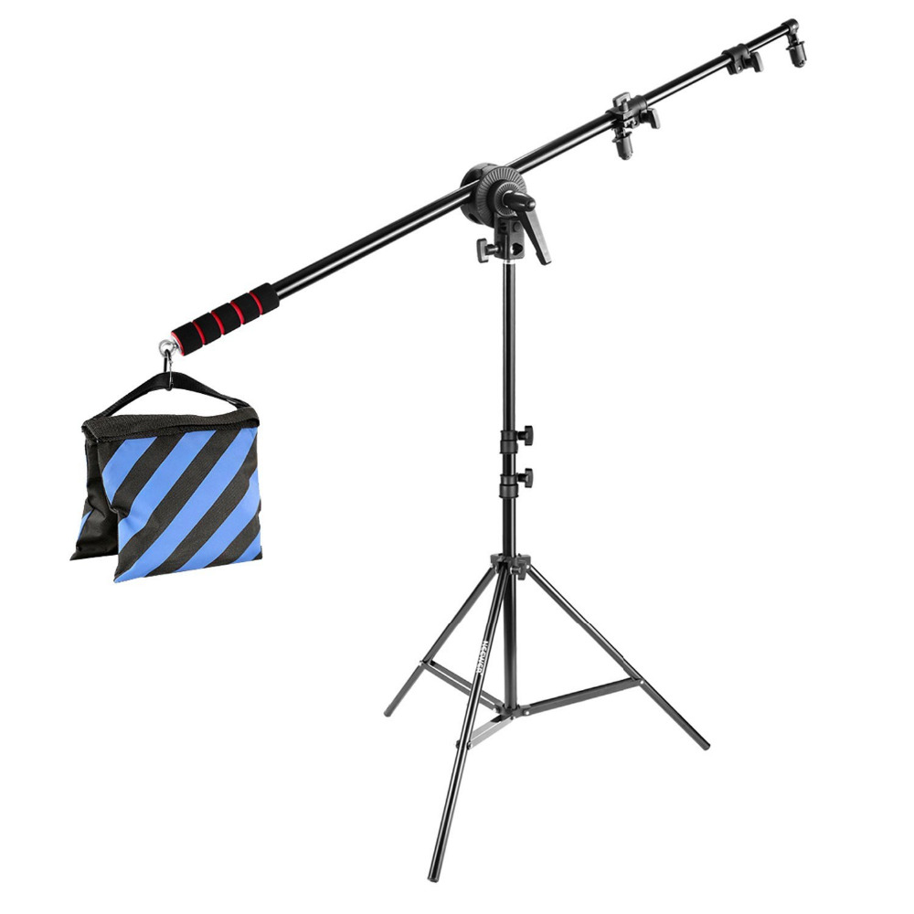 Neewer Photo Studio Lighting Reflector Boom Arm Stand Kit:73 Inches/185cm Reflector Holder Bracket Handle Grip+Light Stand
