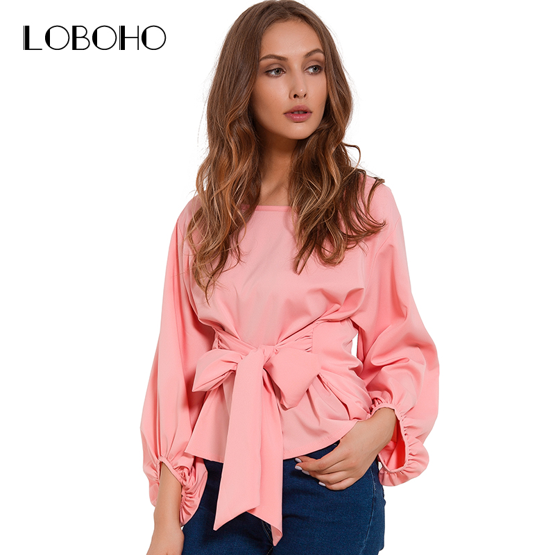 Chiffon Wrap Blouse Women Shirts 2018 Autumn Fashion Lantern Long Sleeve Blouses With Bow Belt Loose Casual Tops Womens Clothing
