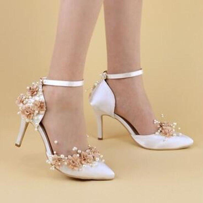 Sexy 8cm Minces Chaîne white Fleur Pompes Red White Femmes H 7 8cm Chaussures Satin Nouveau 2018 Pointu Blanc Perle 7 Haute Soie Bout 578 Talons BZXwW6q