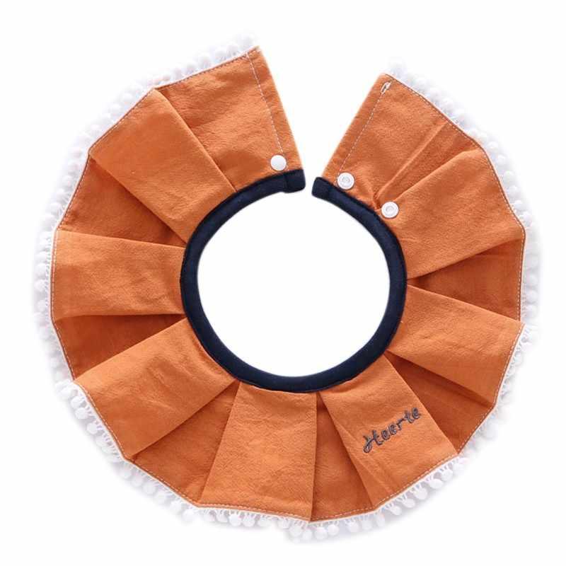 Yếm bé gái bông xếp ly mặt tròn yếm cho bé slobber yếm màu Vòng tròn tròn cotton mềm mại khăn yếm cho bé 0- 2T