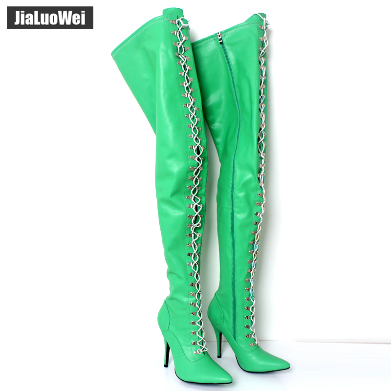 Здесь продается  Jialuowei 12cm ultra high heel Sexy Fetish Lace Up Zip  Pointed Toe stiletto Flex Matt PU Over Knee Thigh High Boots   Обувь