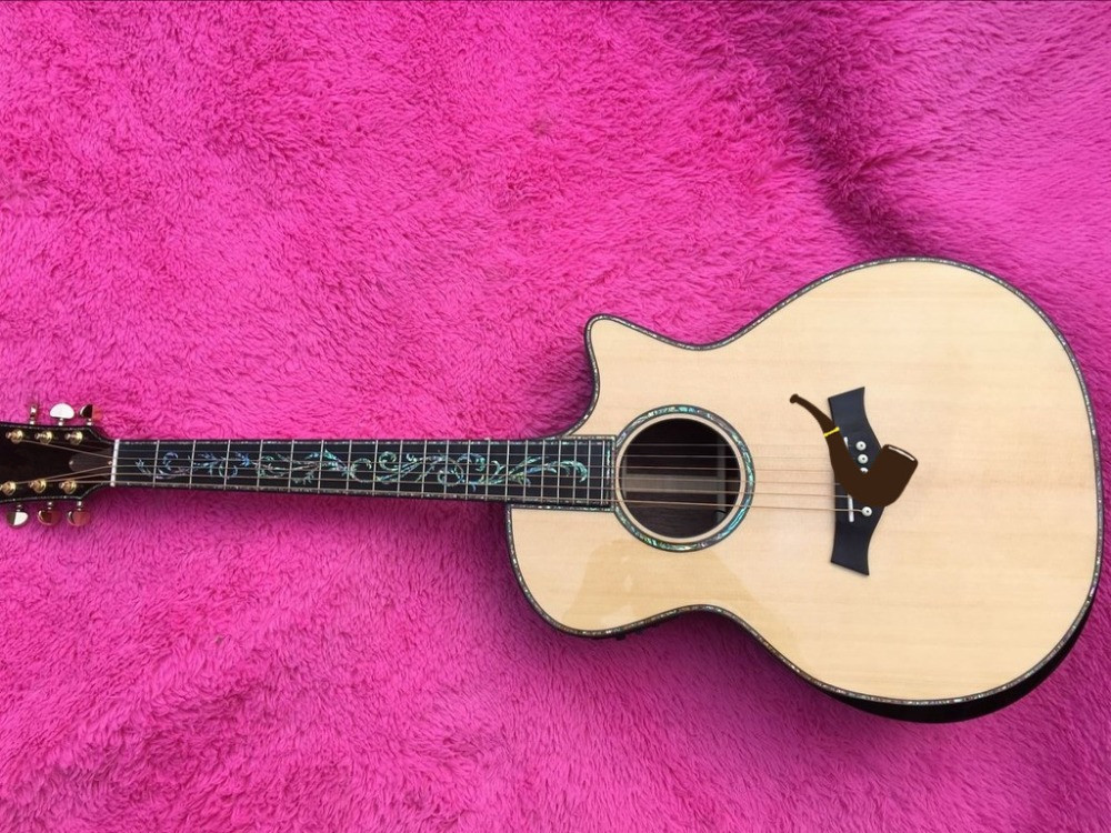 2018 New Factory body cut Chaylor acoustic guitar Real abalone solid top ps14 electric acoustic guitar