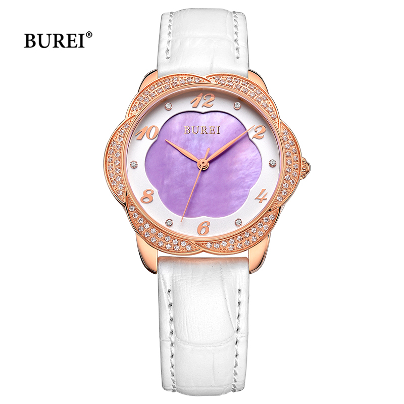 BUREI Ladies Gold Silver Watches Waterproof Fashion Leather Sapphire Crystal Quartz Wrist Watch Clock 2017 Saat Relogio Feminino casima women watches waterproof fashion ladies leather rhinestone gold quartz wrist watch clock woman 2018 saat relogio feminino