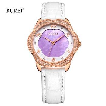 BUREI Ladies Gold Silver Watches Waterproof Fashion Leather Sapphire Crystal Quartz Wrist Watch Clock 2017 Saat Relogio Feminino