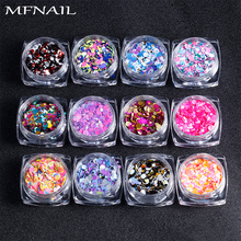 12bottle/set 3ml Shiny Round Sequin Mixed Colors Thin Nail Art Glitter Colorful Design DIY Tips UV Gel Paillette