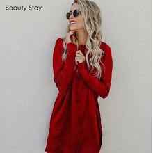 53a39731469 Beauty Stay Women Autumn Dress Wool Knitting Black Pure Color Loose O-neck  Knee-Length Wine Red Dress Casual Simple Style Dress