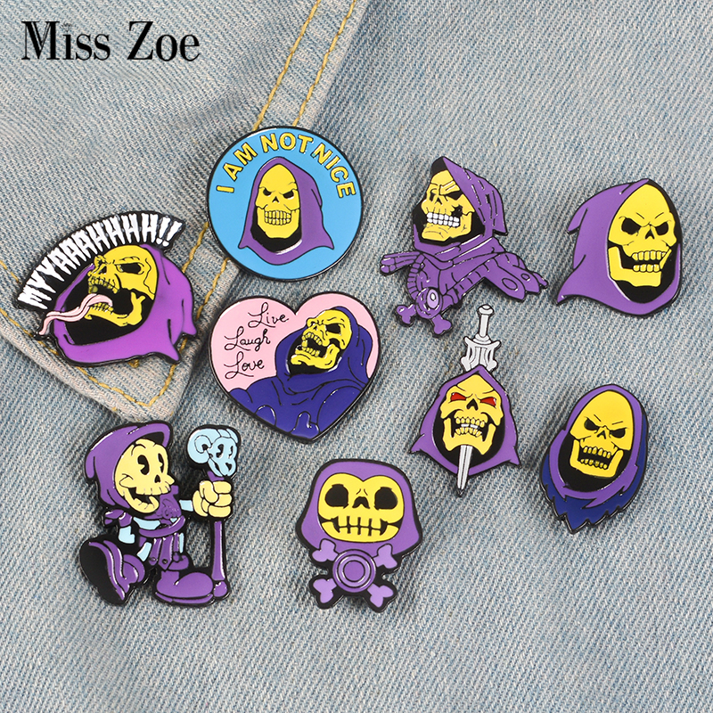 9Styles Skeletor purple hood Enamel Pin Masters of the Universe Badge Brooch Bag Clothes Lapel pin Classic Cartoon Jewelry 1