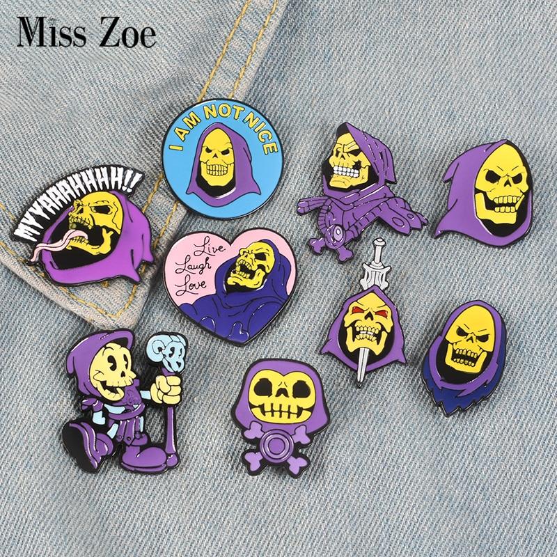 Lapel Pin Brooch-Bag Badge Hood Cartoon Jewelry Enamel-Pin Universe Purple Skeletor Masters