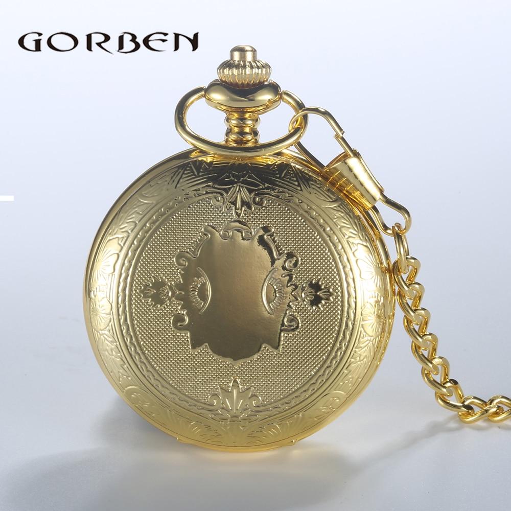 Luxury Golden Pocket Watch Stainless Steel Roman Numbers Display Quartz Watches Necklace With Waist Chain Men Women Unisex Gift