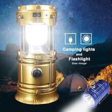 Taşınabilir güneş enerjisi şarj cihazı Kamp LED el feneri Dış Aydınlatma Katlanır Kamp Çadır Lambası USB şarj edilebilir fener