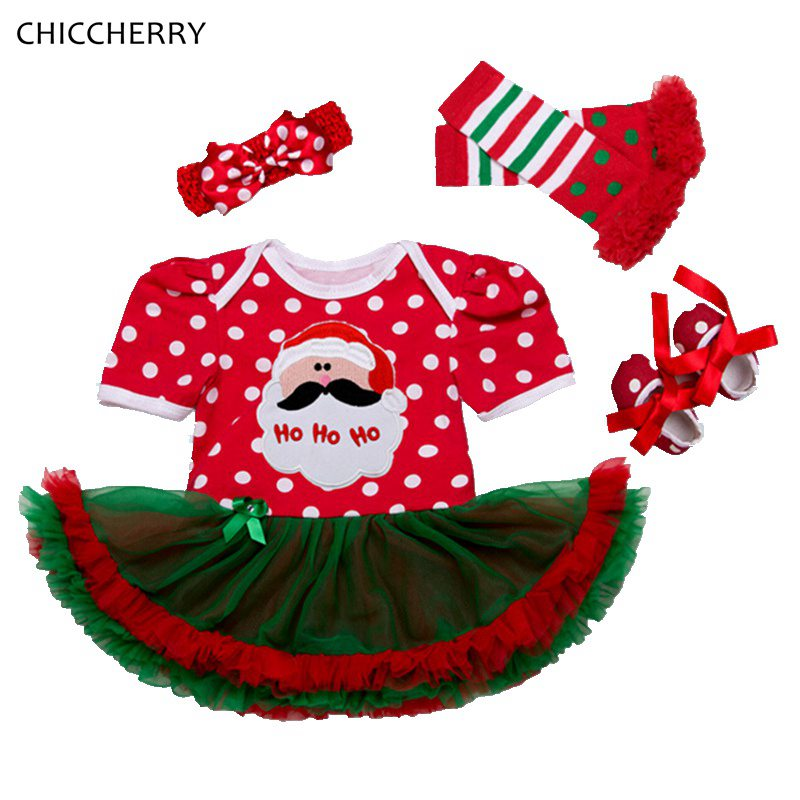 Santa Claus Christmas Costume Lace Romper Dress Headband Leg Warmers Crib Shoes Newborn Tutu Sets Baby Girls Christmas Outfit