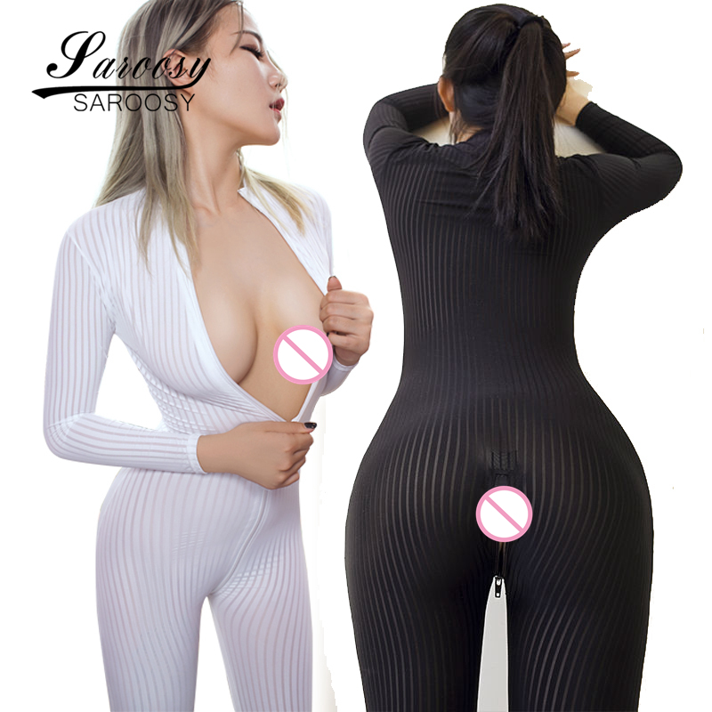 New Arrive Open Crotch Black and White Striped Sheer Bodystocking Bodysuit Erotic <font><b>Lingerie</b></font> for Women Double Zipper Long Sleeves