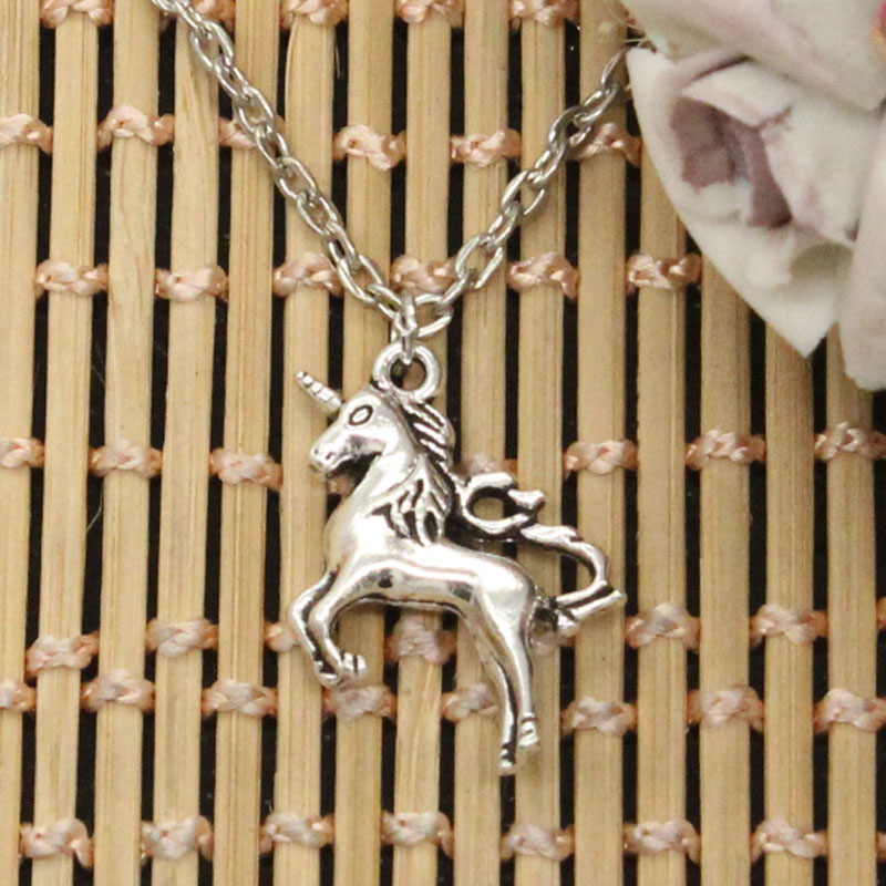 Silver Fashion Unicorn Necklace - Cross or round chain - various lengths