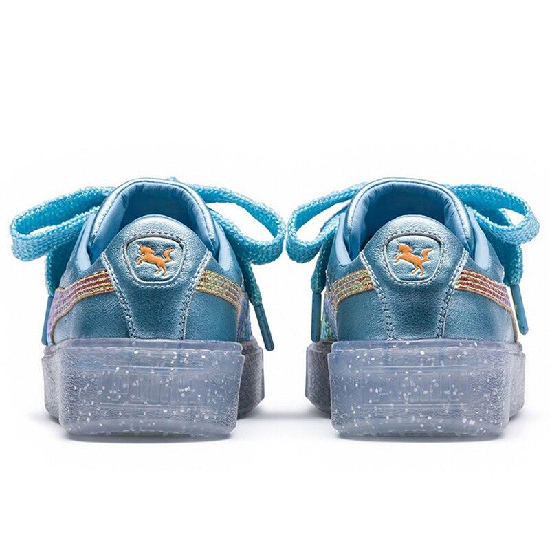 2018 New Arrival PUMA Platfom Glitter Princess SW Womens candy color Bule Canvas shoes Badminton shoes Size 35.5-39