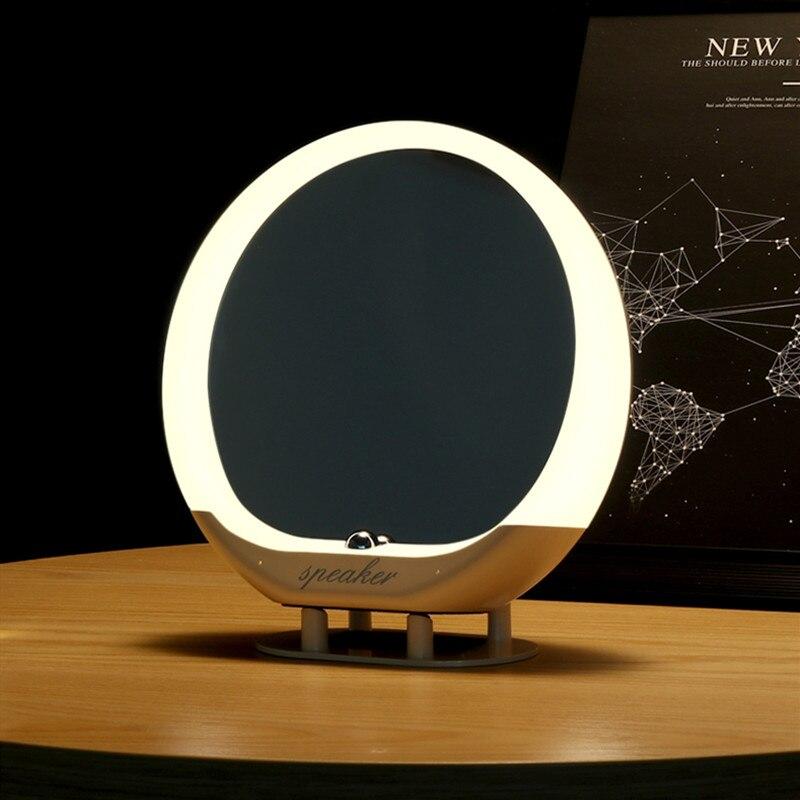 Miroir de maquillage à LED haut-parleur sanescargot 5.0 Bluetooth haut-parleur lampe de Table maison télécommande sans fil audio avec Support Radio FM TF