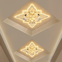 Colorful Butterfly Modern Hallway Crystal LED Ceiling Light Corridor Mirror Ceiling Lamp Aisle Veranda Lighting