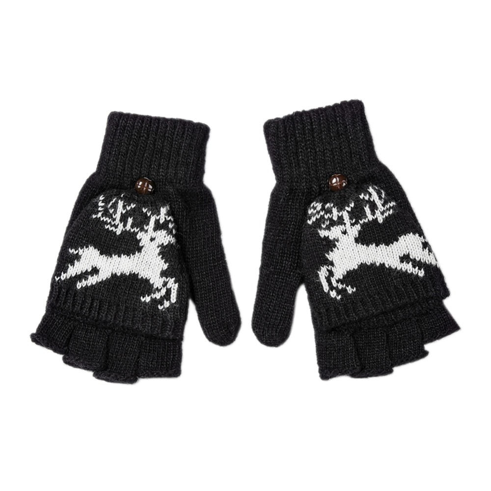 2017 Fashion Gloves Women Winter Deer Wool Knitted Fingerless Golves Clamshell Acrylic Dual Use Mittens For Female Luvas Mujer