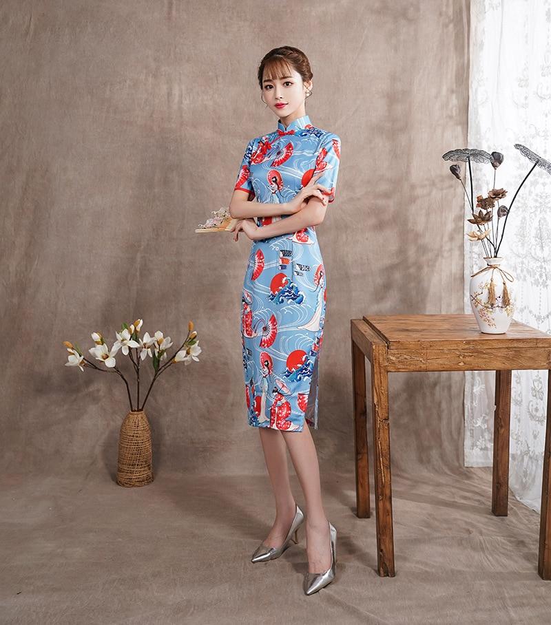 66fdd84abb9 2018-2019 Home Sleepwear Evening Party Elegant Chinese Bodycon Dress  Traditional Cheongsams Qipao Spring Festival Costumes