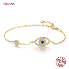 TONGZHE Top Quality 925 Sterling Silver Bracelets for Women Rose Gold Blue Evil Eye Austrian Crystal Jewelry Gift KLTB073-1