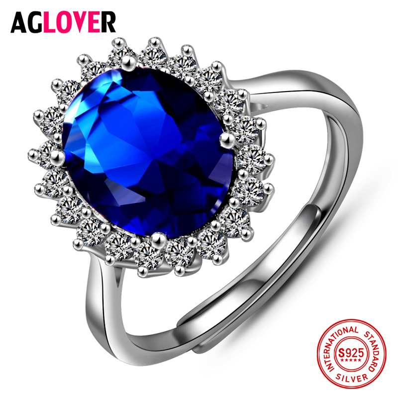 Blue Ocean Heart Ring 925 Silver Fashion Charm AAA Crystal Zircon Woman Ring 100% Sterling Silver Brand Jewelry