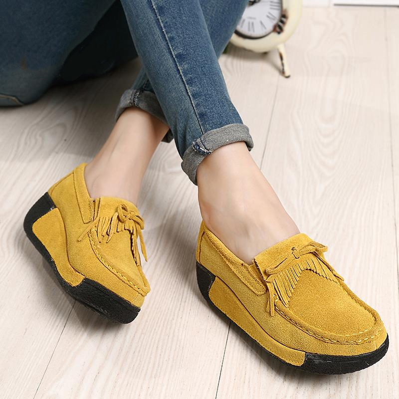 2016 spring women genuine leather suede ankle boots creeper shoes women platform wedge women casual shoes